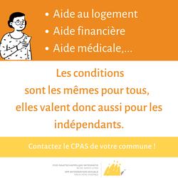 Covid-19 : Guide « Les indépendants et le CPAS »