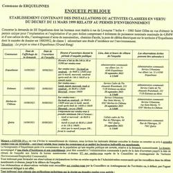 Enquête Publique : Etablissement contenant des installations ou activités classées en vertu du décret du 11 mars 1999 relatif au permis d'environnement